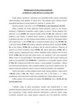Pokladní zpráva ČAS za rok 2015
