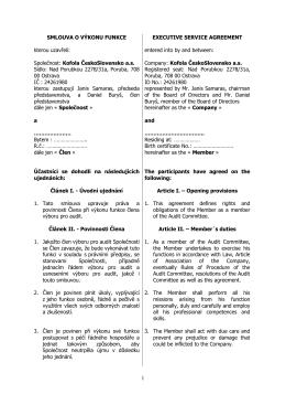 Smlouva o výkonu funkce člena Výboru pro audit