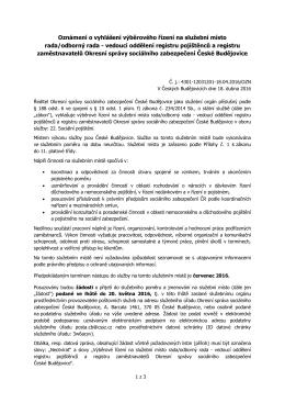 Oznámení o vyhlášení výběrového řízení na služební místo rada