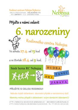 Přijďte s námi oslavit