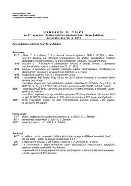 Usnesení č. 17/Z7 - Městská část Brno