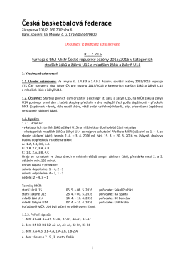 Rozpis MČR žáků a žákyň U15 a U14