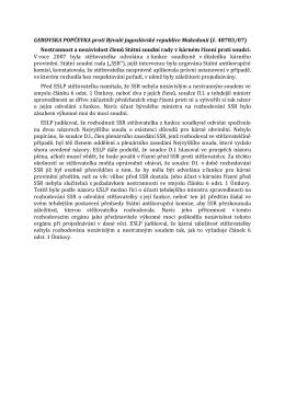 GEROVSKA POPČEVKA proti Bývalé jugoslávské republice