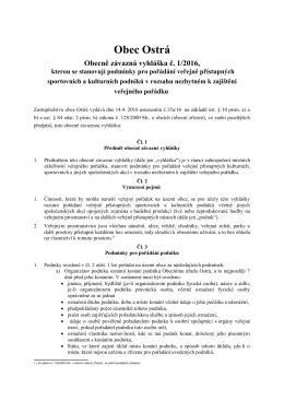 OZV obce Ostrá č. 1/2016, kterou se stanovují podmínky pro