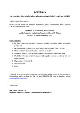 Pozvánka na zasedání Kontrolního výboru Zastupitelstva Kraje