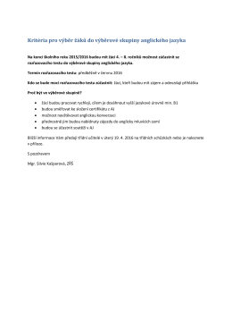 Kritéria pro výběr žáků do výběrové skupiny anglického jazyka