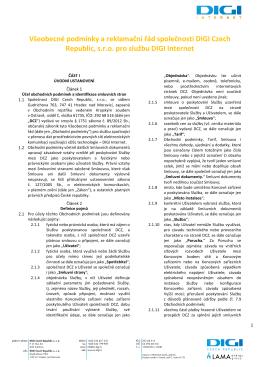 Všeobecné podmínky a reklamační řád společnosti DIGI