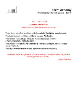 17.4. – 24.4.2016 - Římskokatolická farnost Ostrava