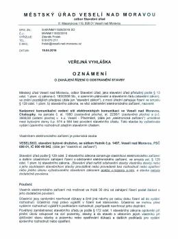 Oznámení o zahájení řízení o odstranění stavby