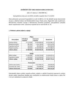 Komentář k závěrečnému účtu Obce Kosova Hora2015