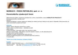 MARBACH - ČESKÁ REPUBLIKA, spol. s r. o. Konstruktér/ka