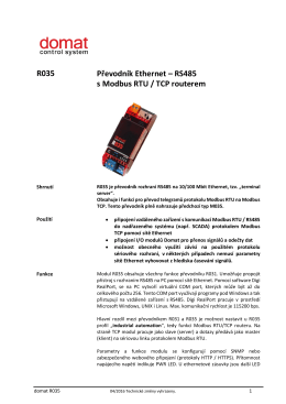 R035 Převodník Ethernet – RS485 s Modbus RTU / TCP routerem