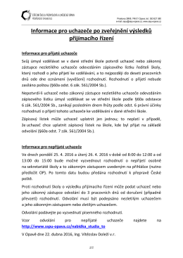 Informace pro uchazeče po zveřejnění výsledků přijímacího řízení