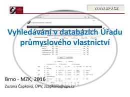 Vyhledávání v databázích Úřadu průmyslového vlastnictví