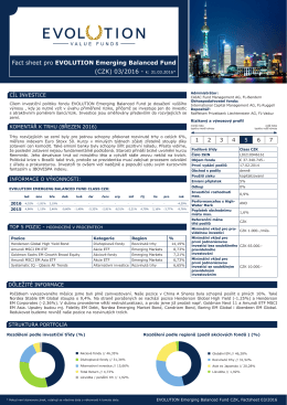 Fact sheet pro EVOLUTION Emerging Balanced Fund (CZK) 03/2016