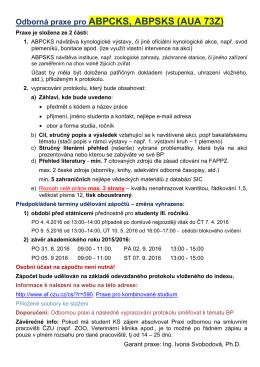 Odborná praxe pro ABPCKS, ABPSKS (AUA 73Z)