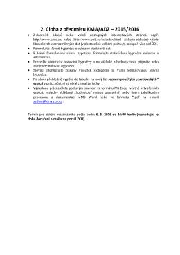 2. úloha z předmětu KMA/ADZ – 2015/2016