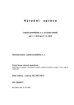 Výroční zpráva - Lubská zemědělská, as Klatovy