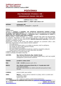 Polytechnická výchova v MŠ - Vzdělávací agentura | Mgr. Jitka