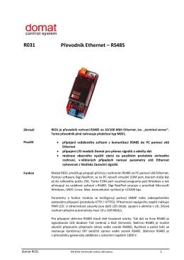 R031 Převodník Ethernet – RS485