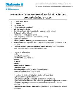 seznam osobních věcí - Diakonie Valašské Meziříčí