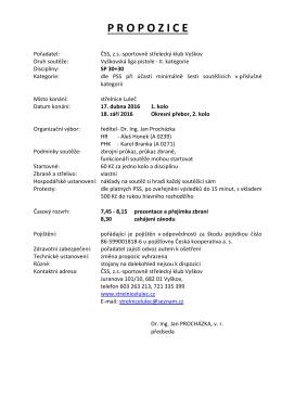 propozice - Sportovně střelecký klub Vyškov