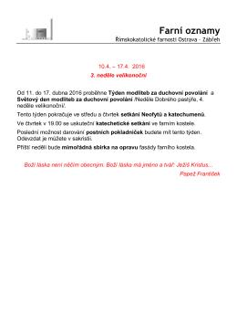 10.4. – 17.4.2016 - Římskokatolická farnost Ostrava
