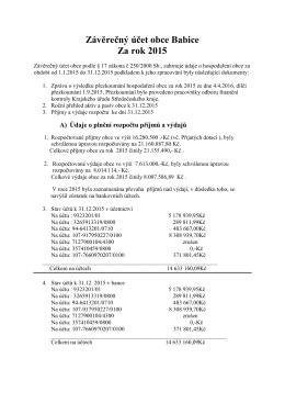 Závěrečný účet obce Babice Za rok 2015