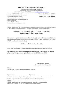 Veřejná vyhláška ke Zprávě o uplatňování ÚP Voděrady