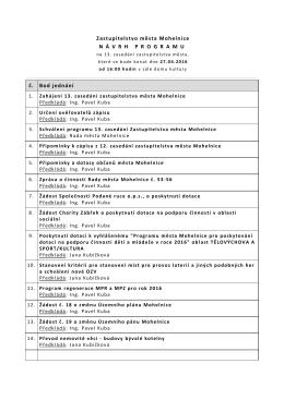 Zastupitelstvo města Mohelnice N Á VRHPROGRAMU č. Bod jednání