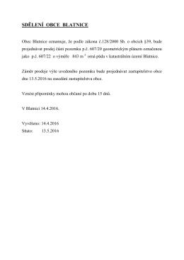 Záměr prodeje p.č. 607/22