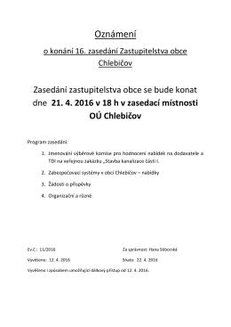 Oznámení o konání 16. zasedání ZO