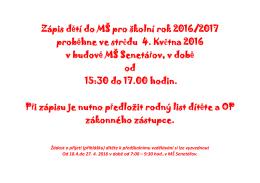 Zápis dětí do MŠ pro školní rok 2016/2017 proběhne ve