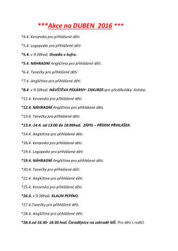 Akce na duben v PDF