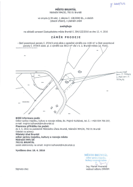 Záměr prodeje části pozemkové parcely č. 3723