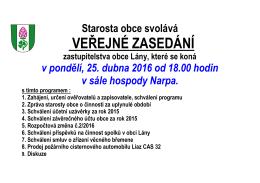 Plakát veřejné zasedání