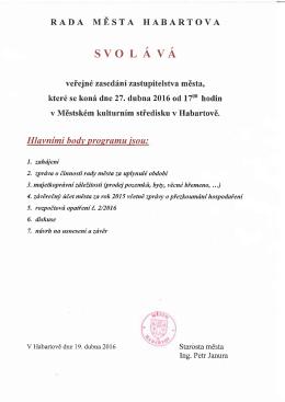 Pozvánka na veřejné zasedání Zastupitelstva města Habartova