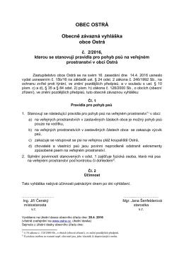 OZV obce Ostrá č. 2/2016, kterou se stanovují pravidla pro pohyb