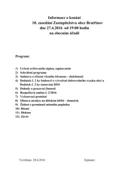 Informace o konání 18. zasedání Zastupitelstva obce Bratřínov dne