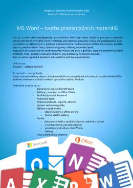 MS Word – tvorba prezentačních materiálů