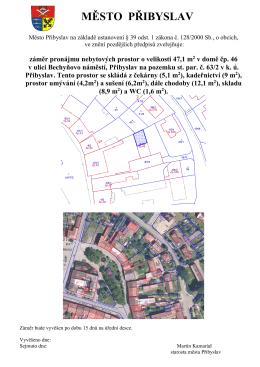 Záměr pronájmu nebytových prostor Bechyňovo nám. 46