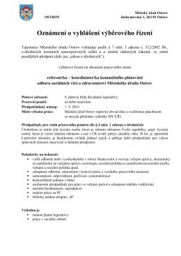 Výběrové řízení - referent/ka