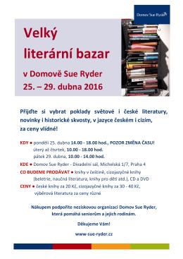 Velký literární bazar v Domově Sue Ryder 25. – 29. dubna 2016