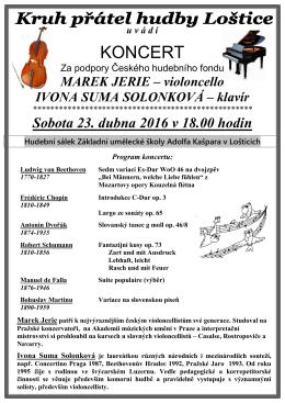 Pozvánka na koncert dne 23.4.2016