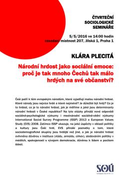 KLÁRA PLECITÁ Národní hrdost jako sociální emoce
