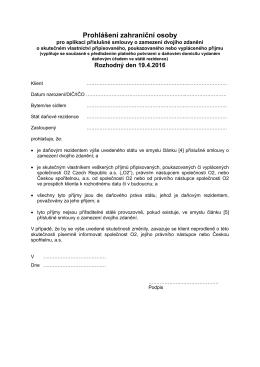 Prohlášení zahraniční osoby pro aplikaci příslušné smlouvy o