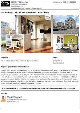 Luxusní byt 1+0, 43 m2 v Rezidenci Kavčí Hory