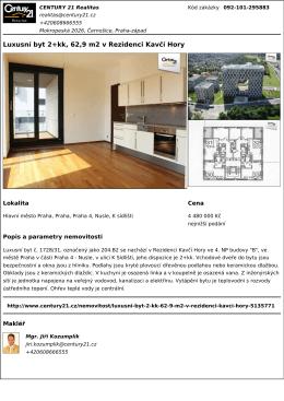 Luxusní byt 2+kk, 62,9 m2 v Rezidenci Kavčí Hory