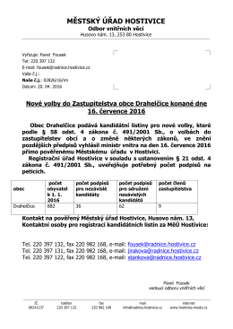 Nové Volby do Zastupitelstva obce Drahelčice konané
