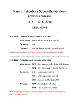 Maturitní zkouška z Odborného výcviku – praktická zkouška 16. 5